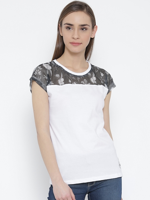 Converse Women White Printed Round Neck T-Shirt