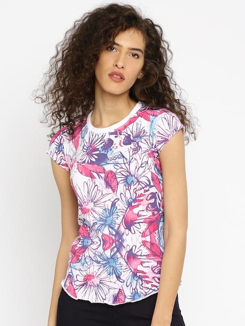 Converse Women White & Pink Printed Round Neck T-shirt