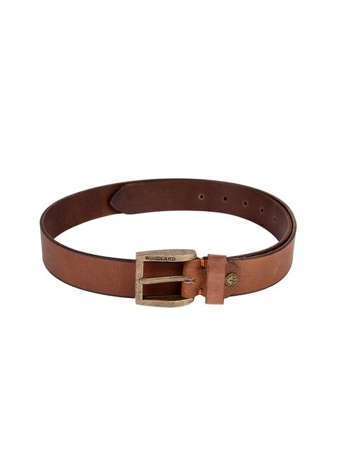 Woodland Men Tan Brown Leather Belt