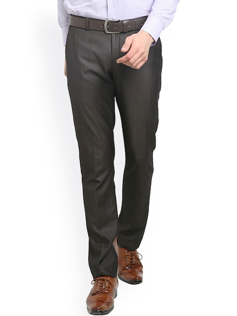 Blackberrys Men Grey Solid Skinny Fit Flat-Front Trousers