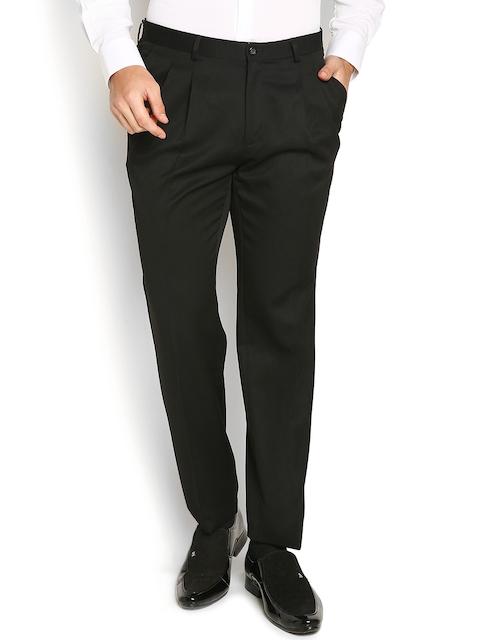 Blackberrys Men Black Solid Regular Fit Flat-Front Trousers