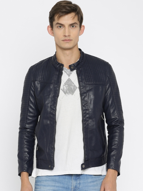 The Indian Garage Co Navy Biker Jacket