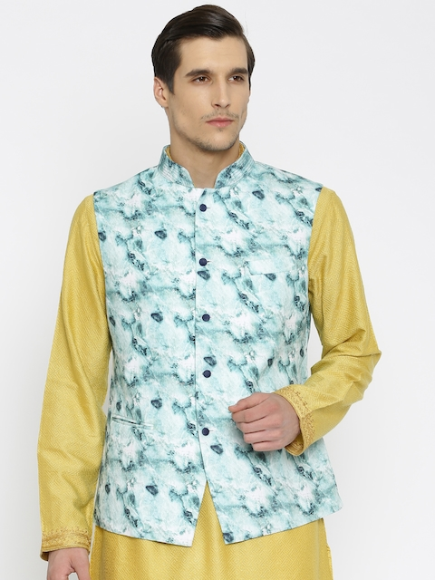 Raymond Ethnix Blue Printed Linen Nehru Jacket