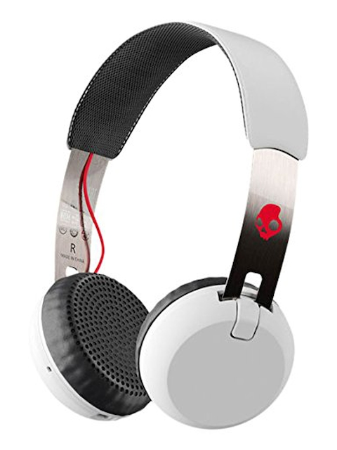 Skullcandy White Grind Bluetooth Wireless Headphones with Mic & Remote