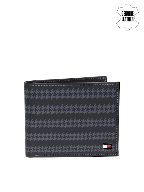 Tommy Hilfiger Men Grey & Black Printed Genuine Leather Wallet