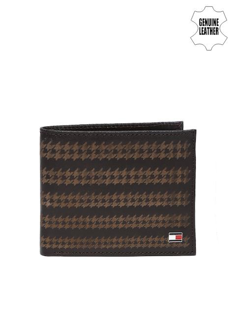 Tommy Hilfiger Men Brown Self-Designed Genuine Leather Wallet