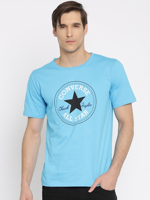 Converse Men Blue Printed Round Neck T-Shirt