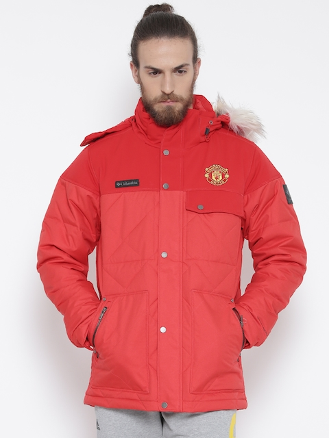 Columbia Red Barlow Pass 550 TurboDown Parka Jacket with Detachable Hood