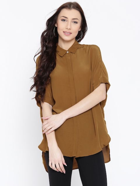FOREVER 21 Women Mustard Brown Solid Casual Shirt