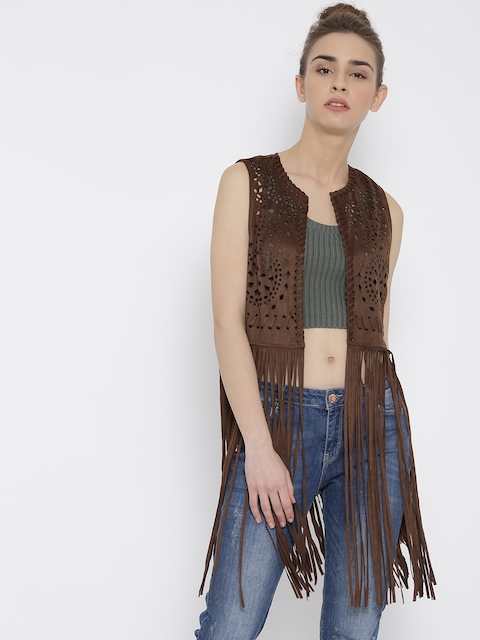 FOREVER 21 Brown Fringed Cut-Out Detail Front Open Jacket