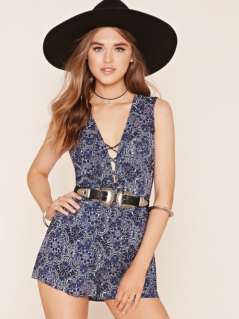 FOREVER 21 Blue & White Floral Print Playsuit