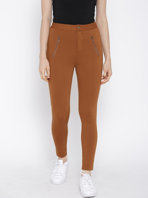 FOREVER 21 Women Rust Brown Solid Treggings