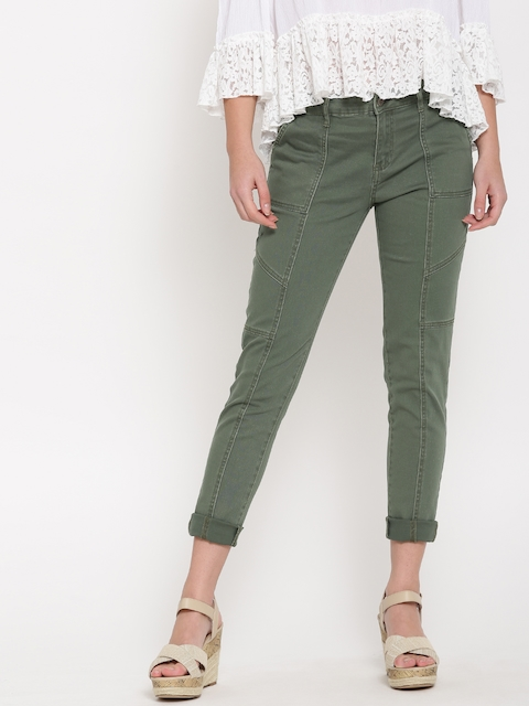 FOREVER 21 Women Olive Green Stretchable Jeans