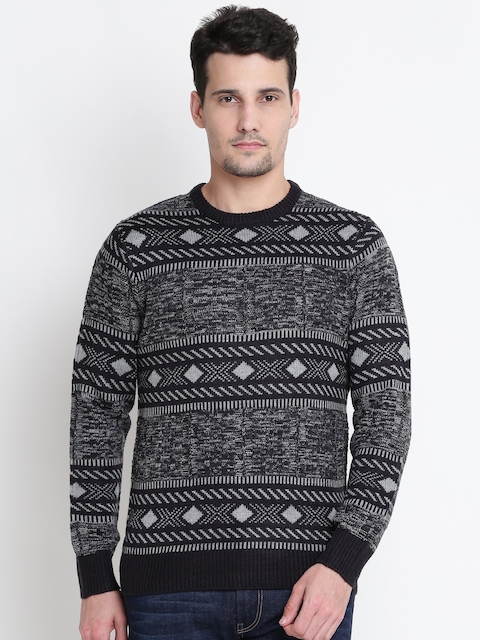 U.S. Polo Assn. Men Black & Grey Self-Design Sweater