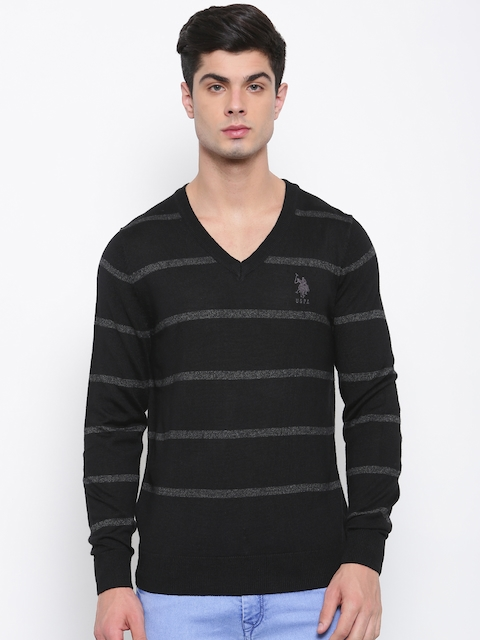 U.S. Polo Assn. Men Black & Grey Striped Pullover