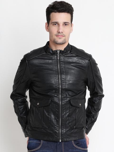 U.S. Polo Assn. Men Black Solid Faux Leather Biker Jacket
