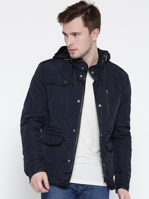 U.S. Polo Assn. Men Navy Blue Solid Hooded Quilted Jacket