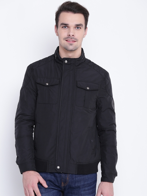 U.S. Polo Assn. Men Black Solid Bomber Jacket