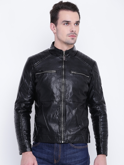 U.S. Polo Assn. Men Black Solid Biker Jacket