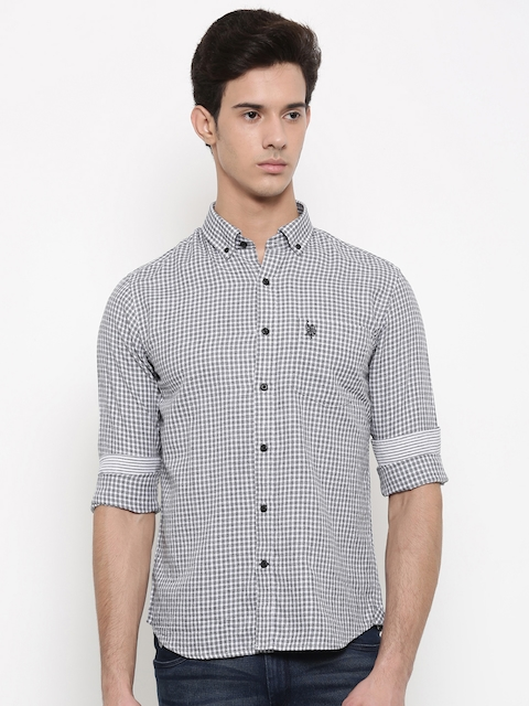 U.S. Polo Assn. Men Grey & Off-White Regular Fit Checked Casual Shirt
