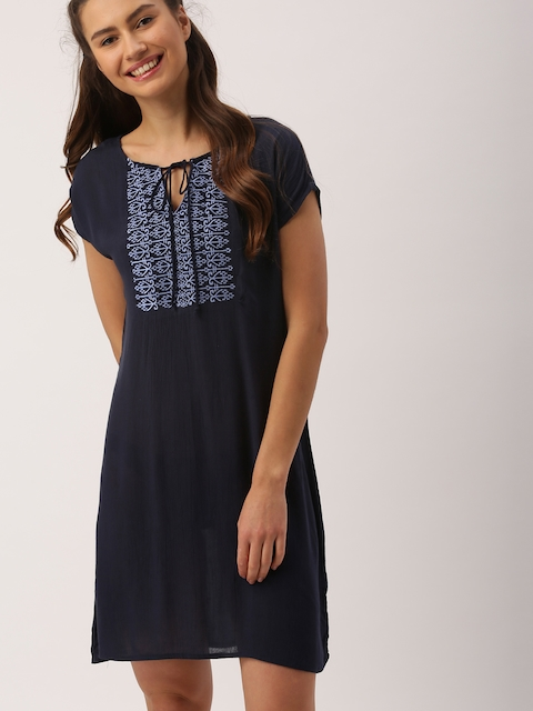 DressBerry Women Navy Blue Solid A-Line Dress  available at myntra for Rs.359