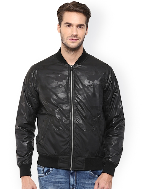 Mufti Black Self-Design Bomber Jacket