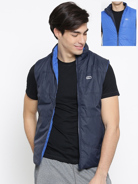 Ajile by Pantaloons Navy & Blue Reversible Sleeveless Jacket