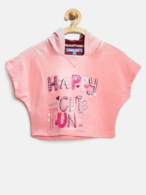 Nauti Nati Girls Pink Printed Hooded Crop Sweatshirt