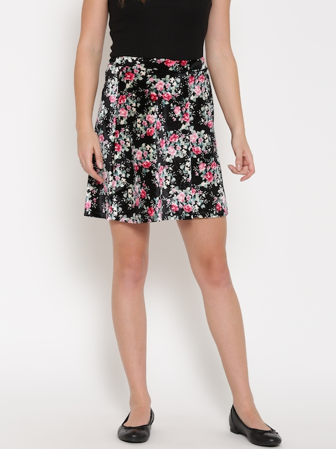 Vero Moda Black Floral Brocade Flared Mini Skirt