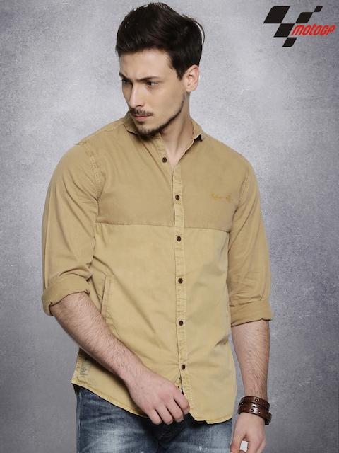 Roadster Men Khaki Solid Casual Shirt