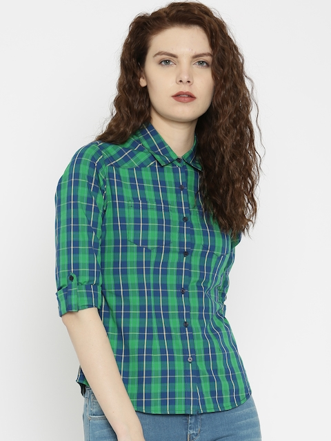 SPYKAR Blue Checked Casual Shirt