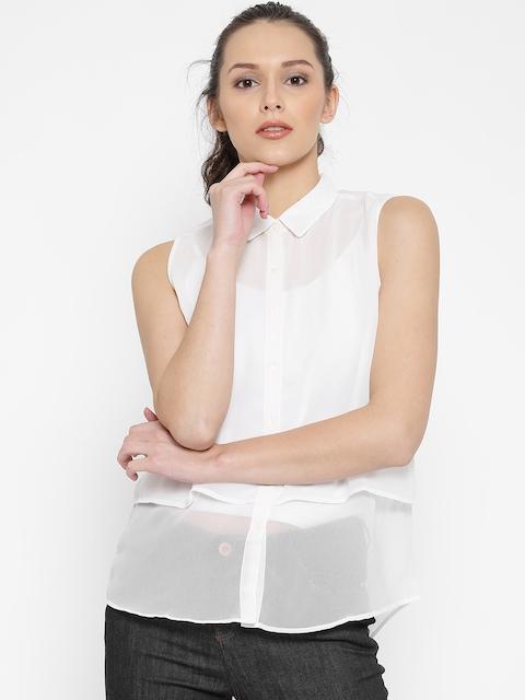 SPYKAR Women Off-White Solid Casual Shirt