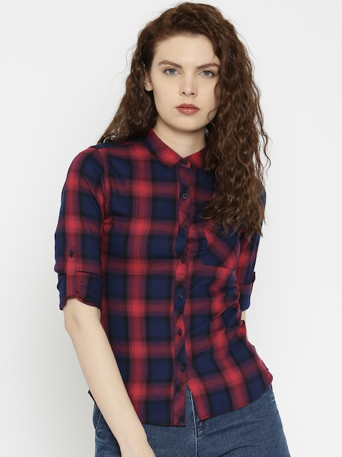 SPYKAR Navy Blue & Red Checked Casual Shirt