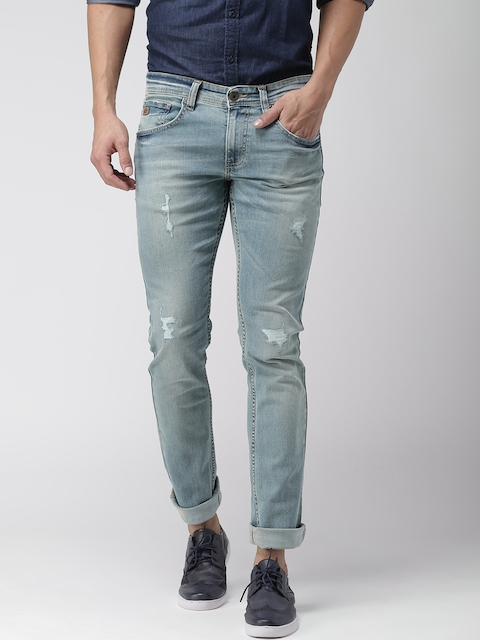 Celio Men Blue Slim Fit Mild Distress Stretchable Jeans  available at myntra for Rs.1499