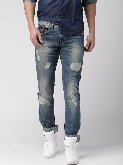 Celio Men Blue Slim Fit Mid-Rise Mild Distress Jeans  available at myntra for Rs.1919