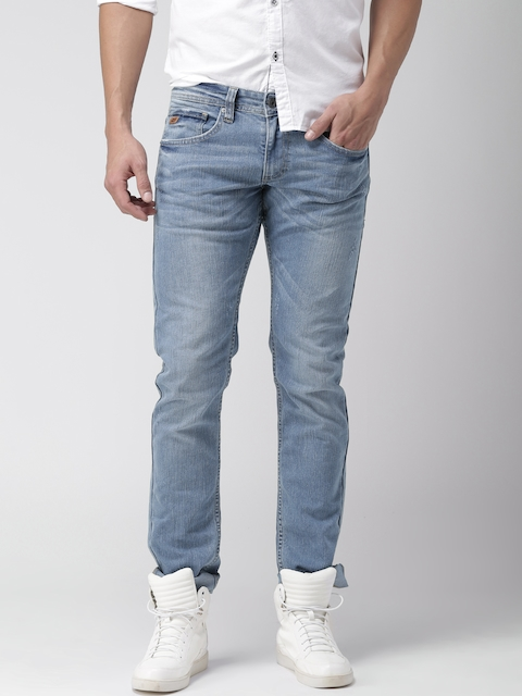 Celio Men Blue Slim Fit Low Distress Stretchable Jeans  available at myntra for Rs.1679