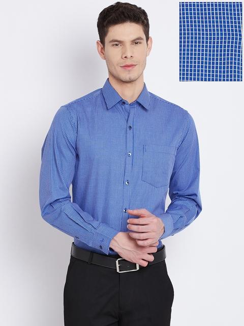 John Players Men Blue & White Slim Checked Formal Shirt
