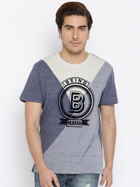 Being Human Clothing Men Blue & Grey Colourblocked T-Shirt