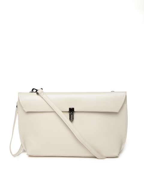 Mast & Harbour Off-White Clutch with Sling Strap