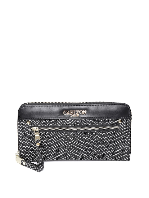 Carlton London Women Black Snakeskin Textured Zip-Around Wallet