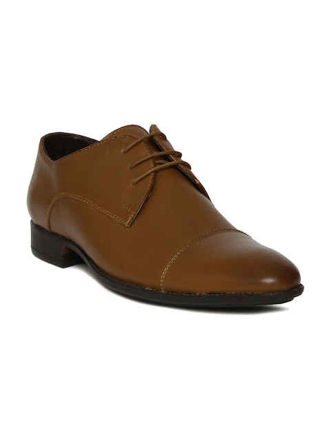 Bata Men Brown Eddard Pointy-Toed Leather Derby Shoes
