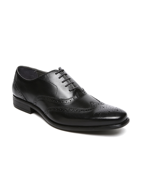 Hush Puppies Men Black Square-Toed Leather Brogue Shoes