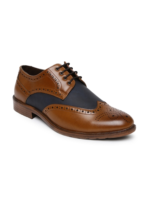Bata Men Tan Brown & Blue Leather Brogues