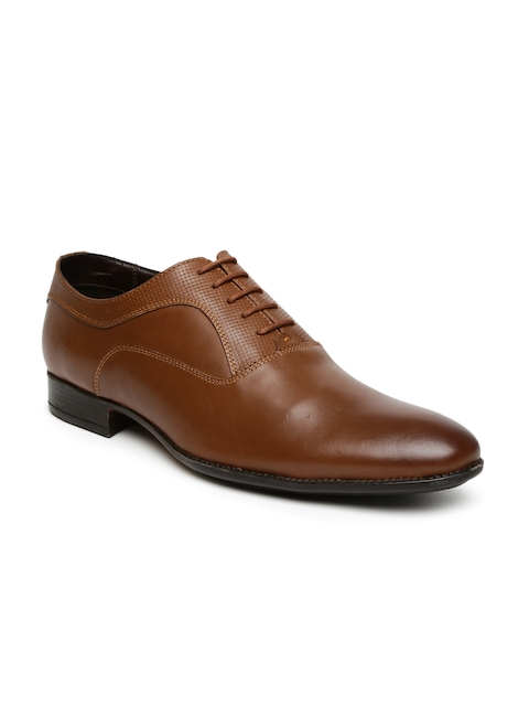 Bata Men Brown Leather Semiformal Oxford Shoes
