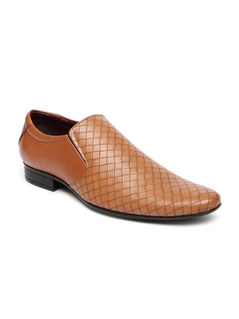 Bata Men Tan Brown Pointy-Toed Patterned Slip-Ons
