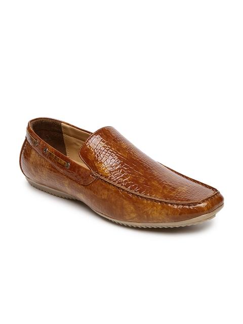 Bata Men Tan Brown Square-Toed Textured Driving Shoes