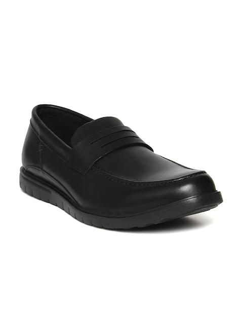 Hush Puppies Men Black Leather Formal Slip-On Shoes