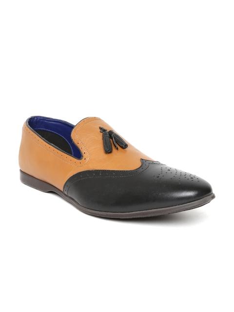 Bata Men Brown & Black Colourblocked Leather Semiformal Slip-Ons