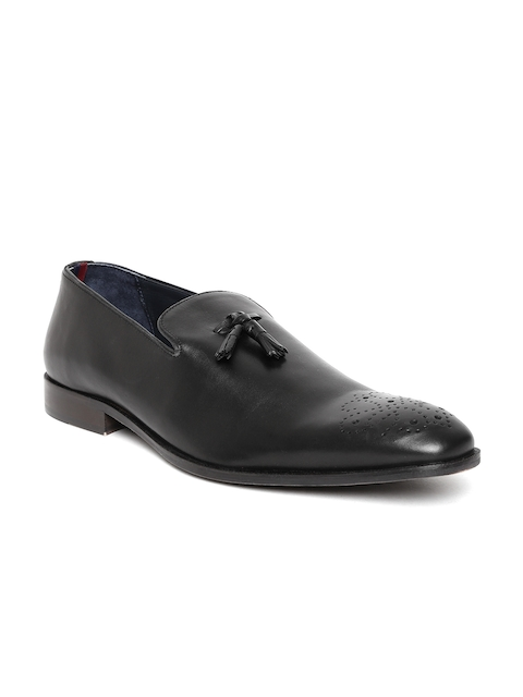 Bata Men Black Leather Semiformal Slip-Ons