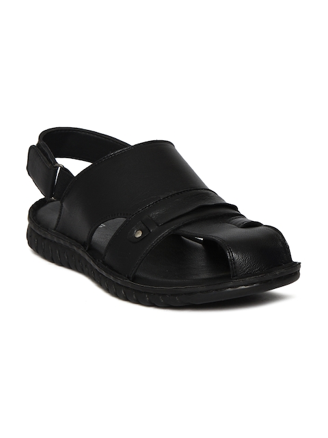Bata Men Black Clogged Leather Sandals